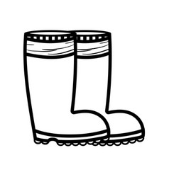 Line rubber boots object to protection feet vector