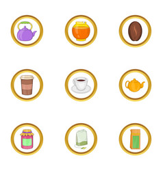 Morning drinks icon set cartoon style vector
