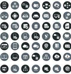 Networking storage and communication icon set vector