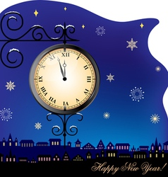 New year clock and town vector