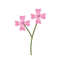 pink flower decoration branch sketch vector image