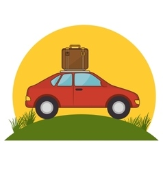 Red car suitcase travel grass sun vector