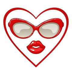 Red sunglasses and lips vector image vector image
