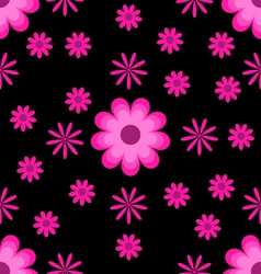 Seamless pattern pink flowers on black background vector image