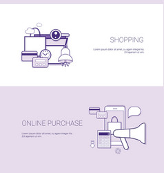 set of shopping online purchase banners business vector image vector image