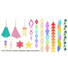 Set of the star festival tanabata paper vector