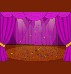 Stage with purple curtains vector