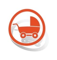 Stroller sign sticker orange vector