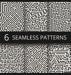 Techno graphic line seamless textures modern vector