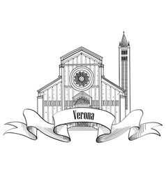Verona city label travel italy icon famous vector