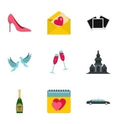 Wedding ceremony icons set flat style vector