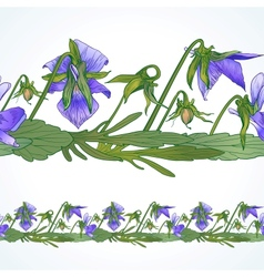 Seamless border of pansies vector