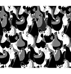 Birds chicken big group black and white seamless vector
