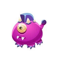 Violet fantastic friendly wingless pet dragon vector