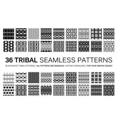 set of 36 tribal seamless patterns vector image