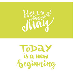 Hand lettering hello may today is a new beginning vector
