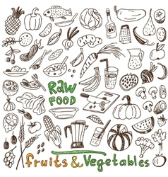 Raw food - doodles collection vector