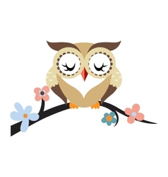 Cartoon owl on a flowering tree branch vector