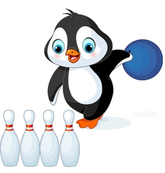Penguin plays bowling vector