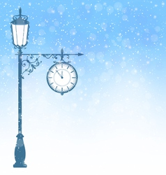 Vintage lamppost with clock in snowfall on blue vector