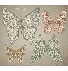 Set of vintage ornamental butterflies isolated on vector