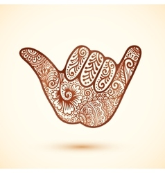 Shaka surfers hand in indian henna tattoo style vector