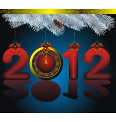New year 2012 card as golden watch and blue fir wi vector