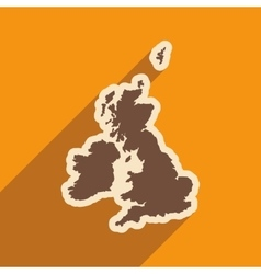 Flat icon with long shadow map of britain vector