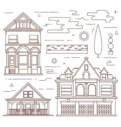 Flat set Urban and village elements vector image