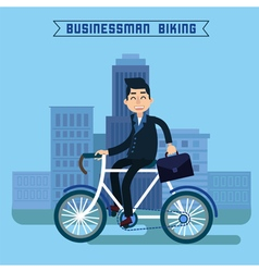 Businessman biking man biking in the city vector