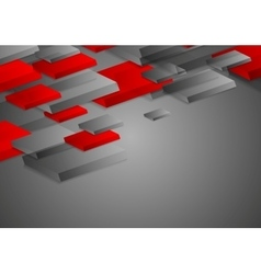 Abstract red grey corporate tech 3d shapes vector