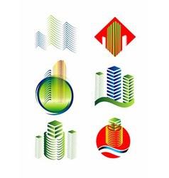 Architectural building logo set vector