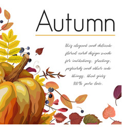autumn floral watercolor greeting card design vector image