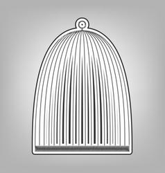 Bird cage sign pencil sketch imitation vector
