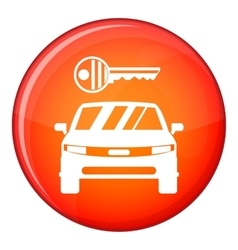 Car and key icon flat style vector
