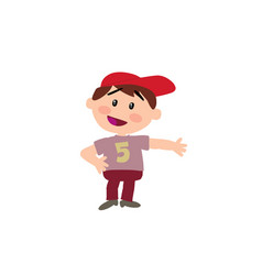 Cartoon character white boy with red cap showing vector