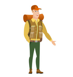 Caucasian traveler with hand in his pocket vector