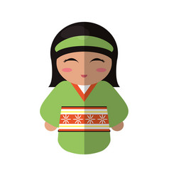Cute kokeshi doll traditional costume japanese vector