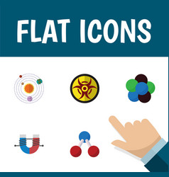 flat icon knowledge set of danger proton vector image