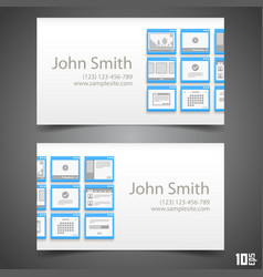 Flat windows frame calling card vector
