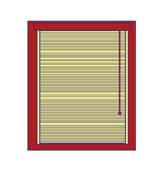 Full color window with blind curtain close design vector