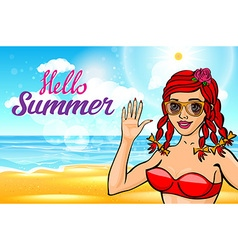 girl with a beautiful body at sea lettering hello vector image vector image