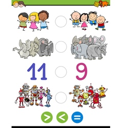 Greater less or equal for kids vector