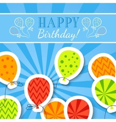 Happy birthday funny postcard with balloons vector