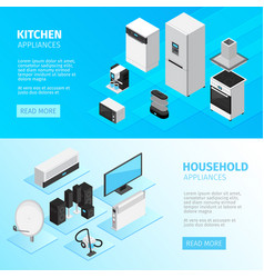 Household appliances horizontal banners vector