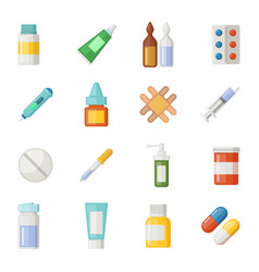 Icons set of medications drugs and pills vector