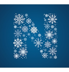 Letter n font frosty snowflakes vector