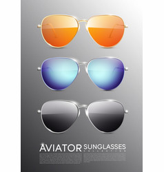 modern aviator sunglasses set vector image