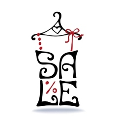 Sale letteringShirt on hangerTypographic design vector image