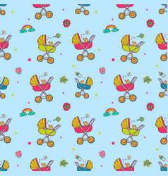 Seamless pattern with cute baby carriages vector